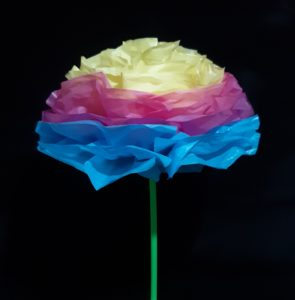 Here you see the most popular colors for a Happy Flower. Starting with turquoise blue on the bottom, dark pink in the middle and yellow at the top.